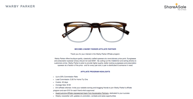 Warby Parker - Share-a-sale