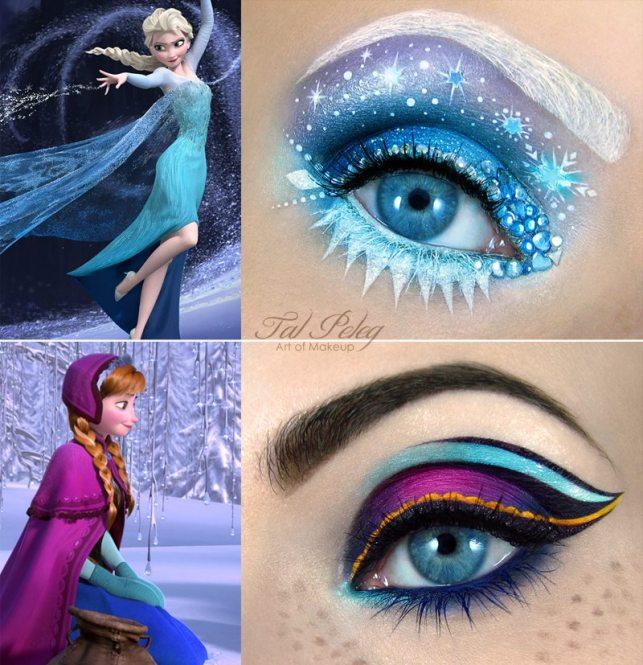 Non poteva mancare natiralmente 'Frozen'! Ecco qui i trucchi ispirati a Elsa e Anna!