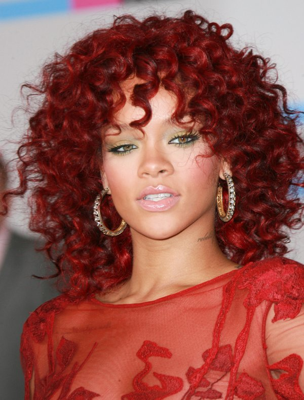 rihanna-short-red-curly-hairstyles