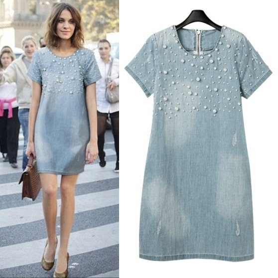 S-3XL-2015-new-women-fashion-denim-dress-short-sleeve-mini-casual-o-neck-pearl-plus