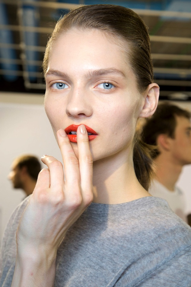 Le-Fashion-Blog-Spring-Beauty-Orange-Lipstick-Nude-Nails-Grey-Knit-Acne-FW-2015-Backstage