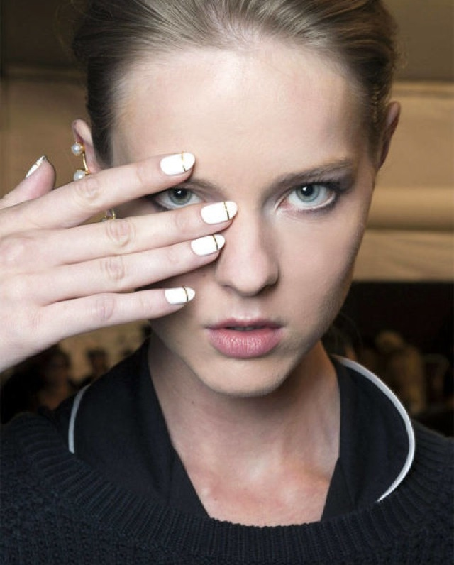 white-nails-gold-stripes-Erin-Fetherston
