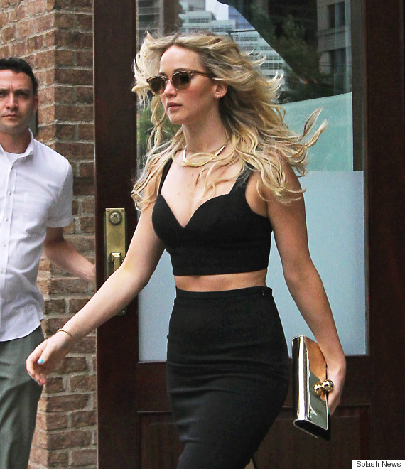 Jennifer Lawrence steps out looking beautiful in a black crop top and matching skirt in Tribeca, NYC