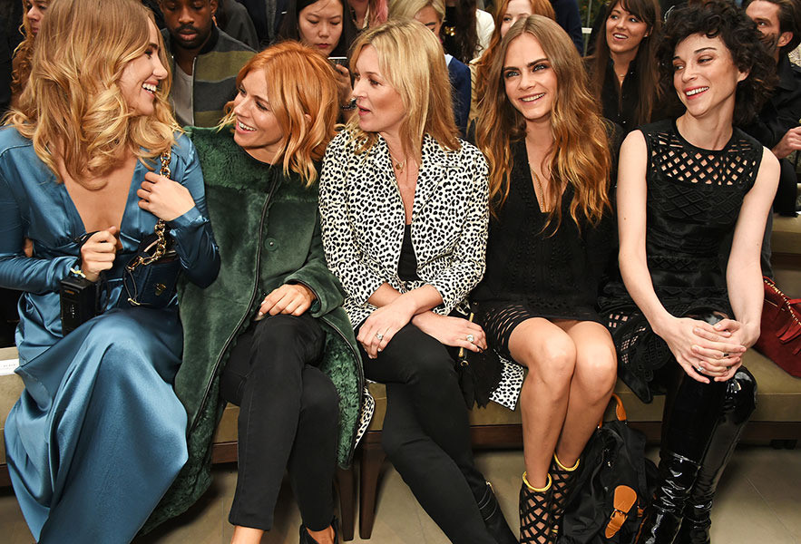 Suki Waterhouse, Sienna Miller, Kate Moss, Cara Delevingne and St. Vincent at the Burberry Womenswear Spring:Summer 2016 show.