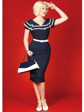 Nautical Inspired White Trim Navy Blue Pencil Dress_bluevelevetvintage