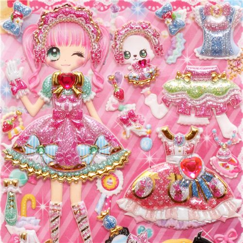 glitter-kawaii-dresses-girls-dress-up-doll-3D-stickers-178729-1