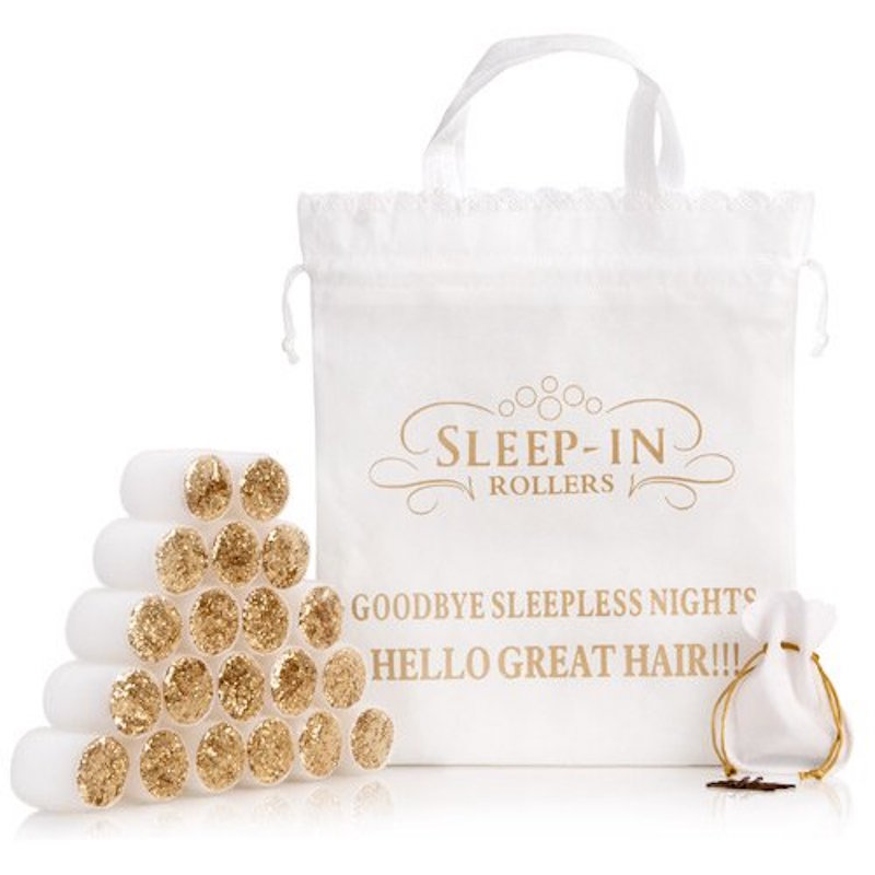 Cliomakeup-bigodini-capelli-retrò-SLEEP IN ROLLERS WHITE GOLD GLITTER SET bigodini morbidi