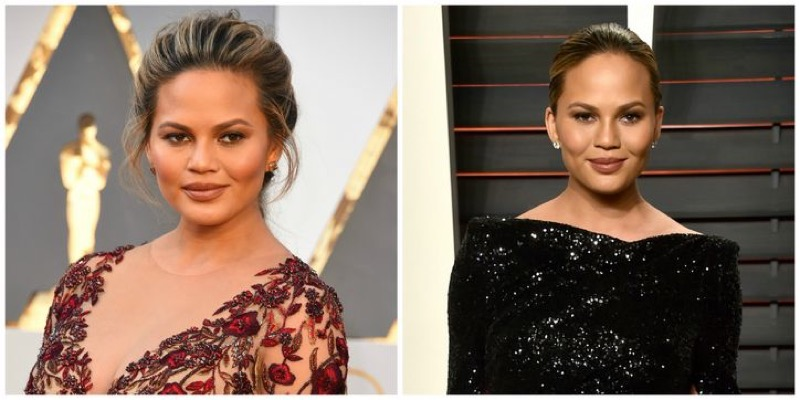 ClioMakeUp-oscar-2016-red-carpet-after-party-prima-e-dopo-look-vestito-trucco-make-up-CHRISSY-TEIGEN-capelli