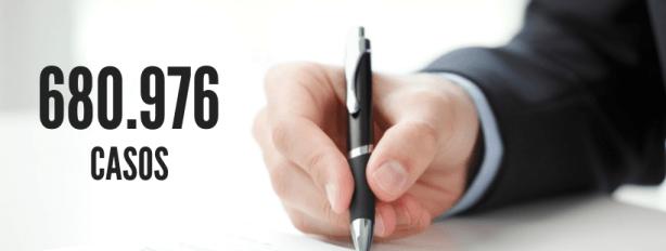 Homem executivo escrevendo. número representando 680.976 casos