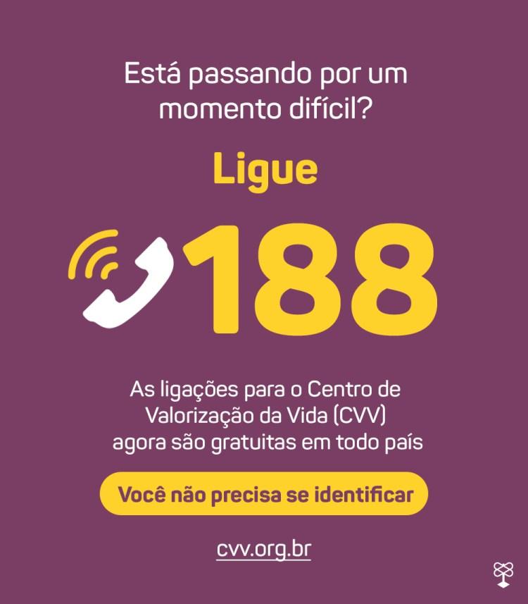 Flyer do CVV - Centro de valorização a vida, que combate o suicídio, com o número de telefone 188, disponível para conversar gratuitamente quando estiver passando por um momento difícil.