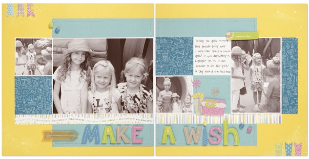 Confetti Wishes scrapbook layout