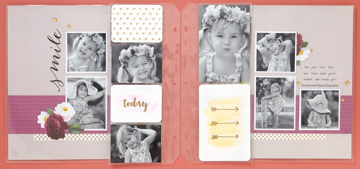 Layout with Pocket Plus Memory Protectors #CTMH #CloseToMyHeart #pictureperfect #littlegirl #scrapbooking #scrapbook #flowerpaper #pocketplus #memoryprotectors