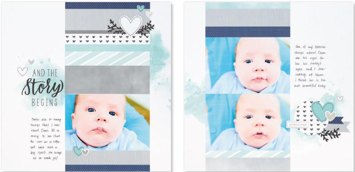 Cut Above® The Story Begins #ctmh #closetomyheart #cutabove #scrapbooking #babyboy #thestorybegins #layoutkit #scrapbookingkit #babyalbum #milestones
