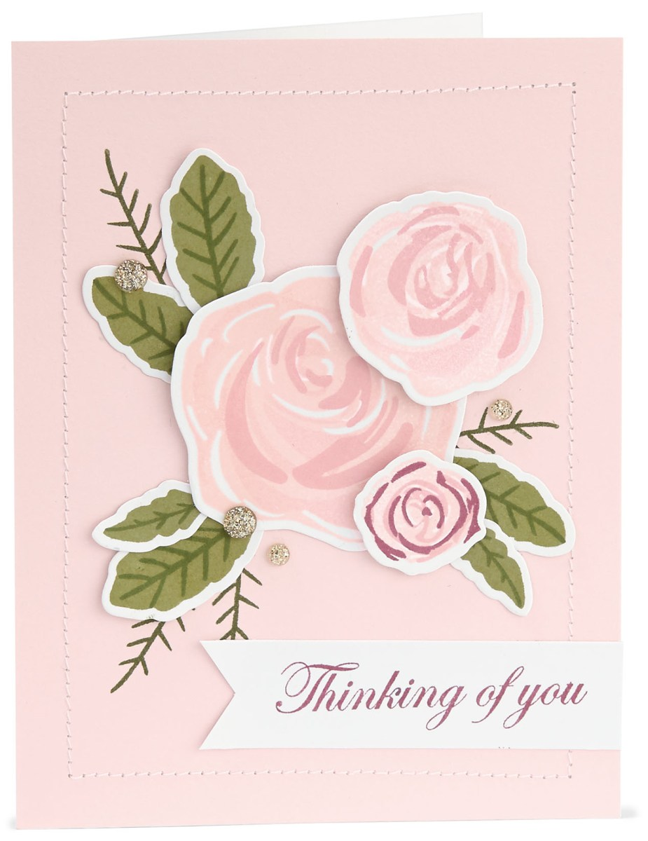 Base & Shade Stamping #ctmh #closetomyheart #stamping #nationalstampingmonth #baseandshade #layeredstamping #bashful #thinkingofyou #card #cardmaking #roses