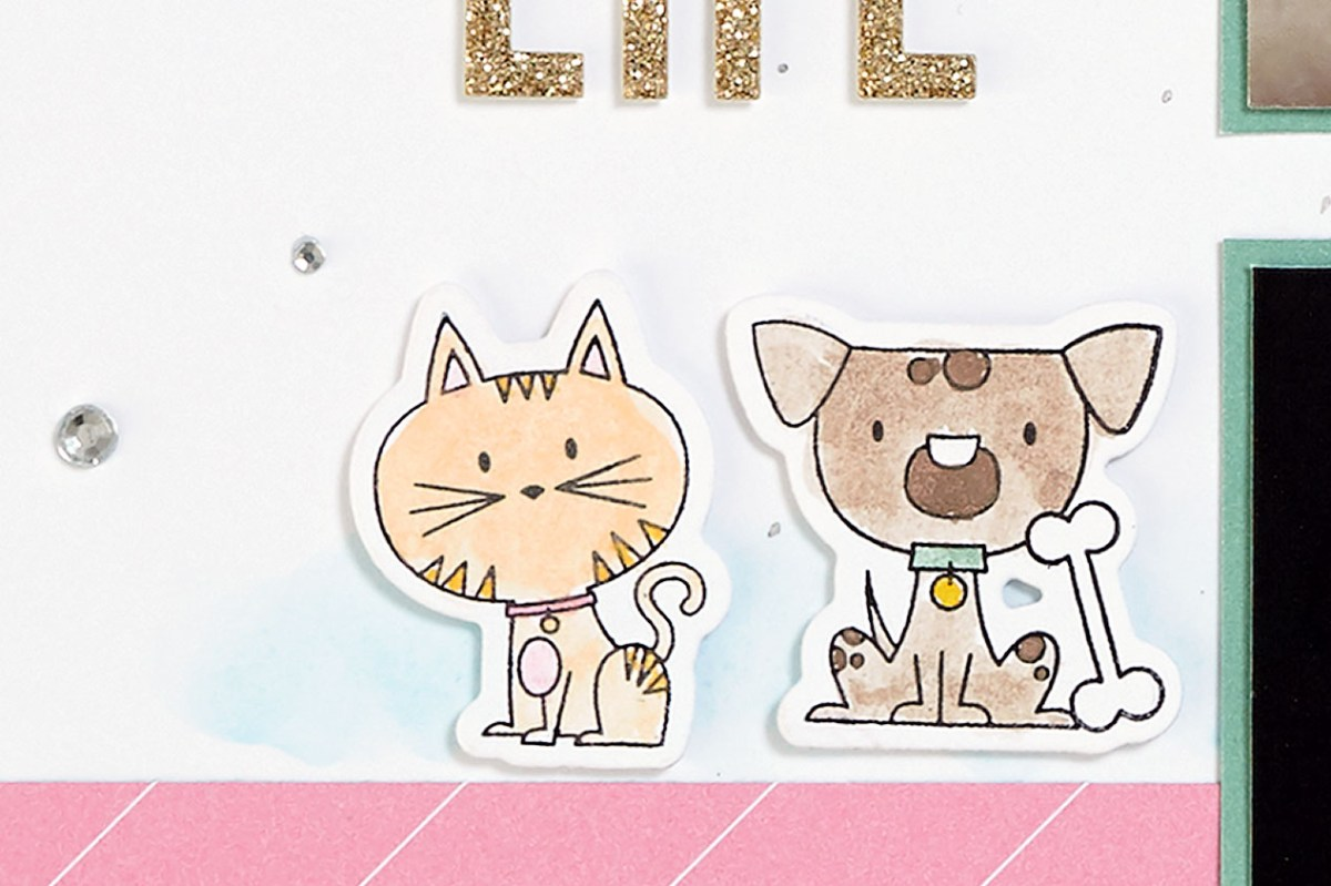 Punny Pals in Scrapbooking #ctmh #closetomyheart #scrapbooking #punnypals #thincuts #watercolor #watercolour #cat #kitty #dog #doggie #operationsmile