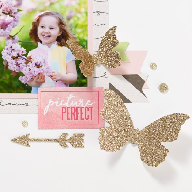 Through the Year Calendar Kit #ctmh #closetomyheart #throughtheyear #diy #calendar #kit #photocalendar #goldglitter #diecuts die-cuts #butterflies #butterfly #picture #perfect #spring