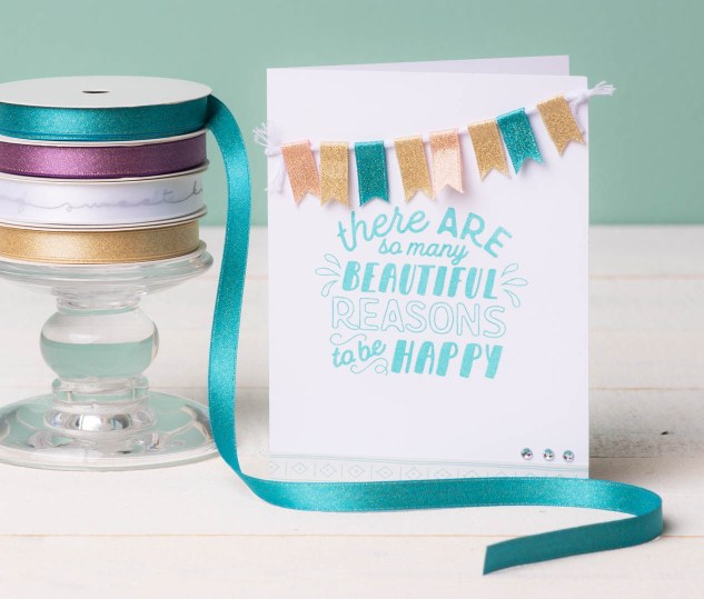 Fun with Ribbon #ctmh #closetomyheart #cthmcreatetherainbow #createtherainbow #ribbon #funwithribbon #craftingwithribbon #ribboncrafts #ribbonbanner #pennantbanner #cardbanner #cardmaking
