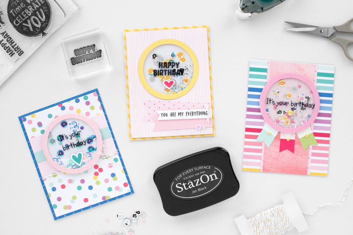 Stamping with StazOn™ Ink #ctmh #closetomyheart #stazon #stamping #inkpad #shakerwindow #cardmaking #birthdaycard
