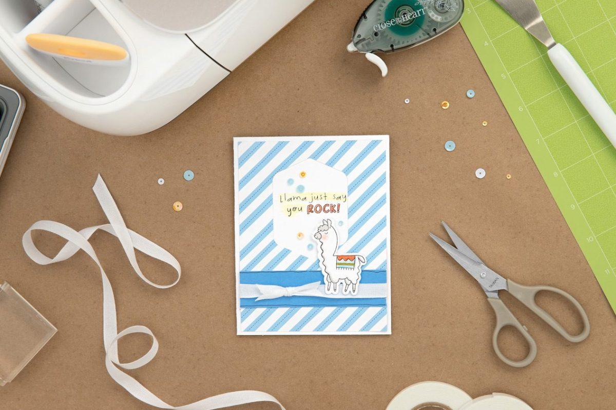Cricut Design Space™ Basics #closetomyheart #ctmh #ctmhcrafton #cricut #designspace #attach #slice #backtothebasics #yourockcard #llamacard #diy #cardmaking