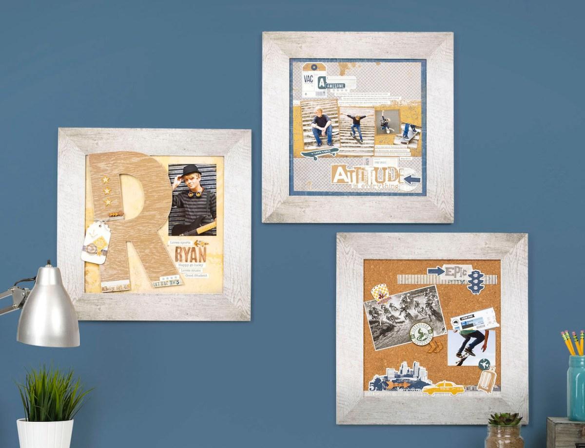 DIY Boy's Room Decor #ctmh #closetomyheart #ctmhurban #frameitup #urbanframes #diydecor #boysroom #skater #skateboarding #rustic #epic #guitar #chipboard #monogram #visionboard #papercrafting #npm #nationalpapercraftingmonth