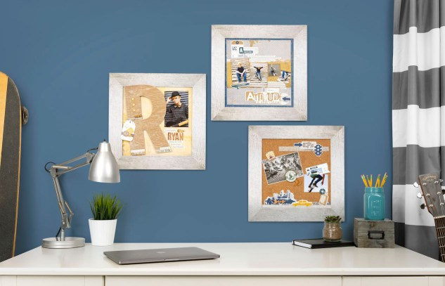 DIY Boy's Room Decor #ctmh #closetomyheart #ctmhurban #frameitup #urbanframes #diydecor #boysroom #skater #skateboarding #rustic #epic #guitar #chipboard #monogram #visionboard #papercrafting #npm #nationalpapercraftingmonth