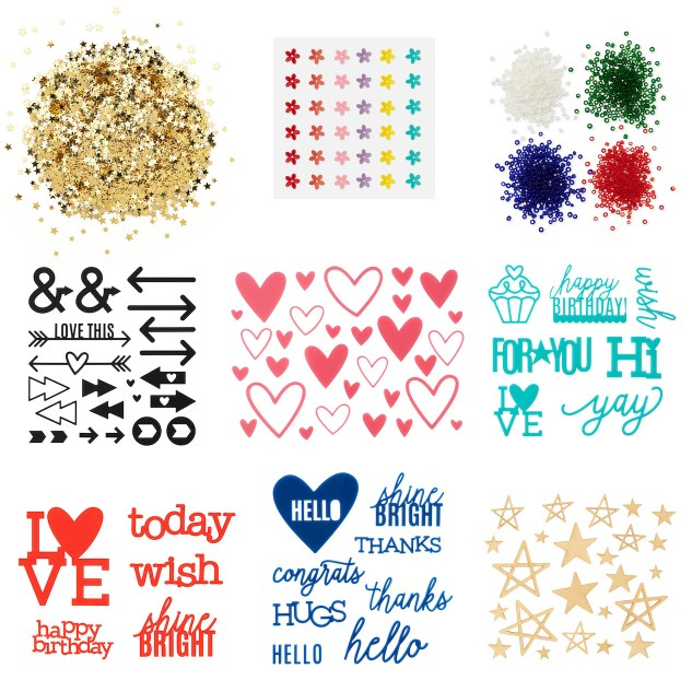 CTMH Core Products #ctmh #closetomyheart #papercrafting #scrapbooking #cardmaking #mixedmedia #diy #maker #goldstarconfetti #sprintimeflowersequins #boldbittybeads #blackacrylicarrows #pinkacrylichearts #happybirthdayacrylicsentiments #lovetodayacrylictitles #hugsandhelloacrylicsentiments #woodstars #sequins #beads #acrylicshapes #acrylicsentiments #acrylictitles #woodshapes #embellishments