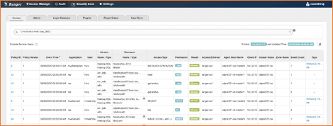 Ranger audits showing authorizations for a query execution: Hive table, ADLS-Gen2