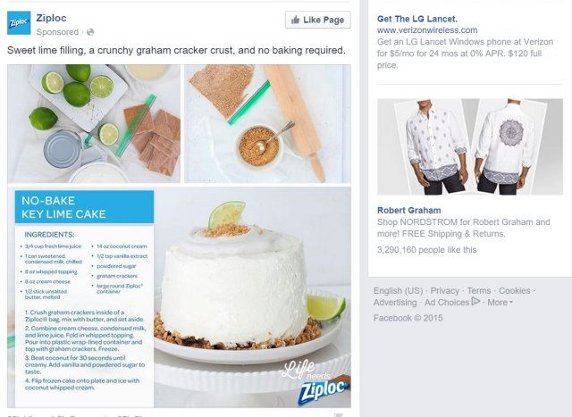Was your eye drawn to the ad on the left, or the ones on the right? And do you now want key lime pie?