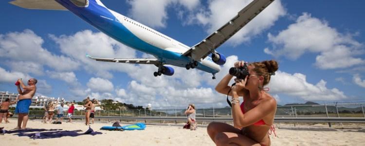 Tourists at St. Maarten Airport, Netherlands Antilles