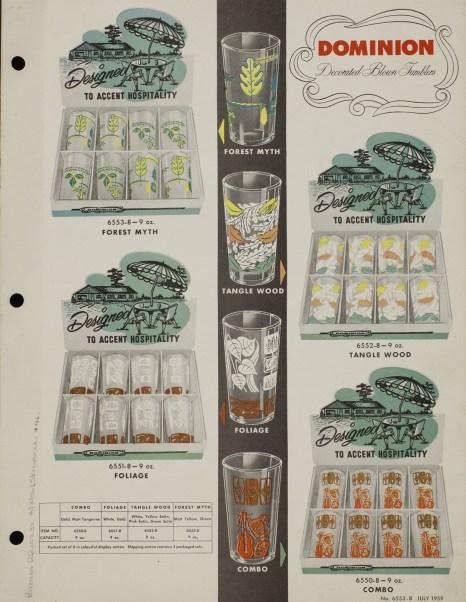 Pressed & blown glassware : catalogue G-12. Dominion Glass Company, Montreal, Quebec, Canada. 1954-1959. Bib ID 94119.