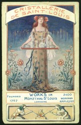 Trade card from Cristalleries de Saint Louis, Munzthal St. Luis, Alsace-Lorraine, France, 1924