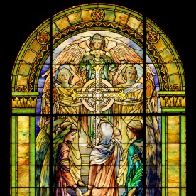 The Righteous Shall Receive A Crown of Glory, designed by Louis Comfort Tiffany and Frederick Wilson. Made by Tiffany Studios, Corona, NY about 1901. H: 383.5 cm, W: 233.7 cm. (96.4.230, gift of Mr. and Mrs. Bruce Randall)