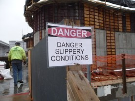 Workers take extra care when the conditions are slippery