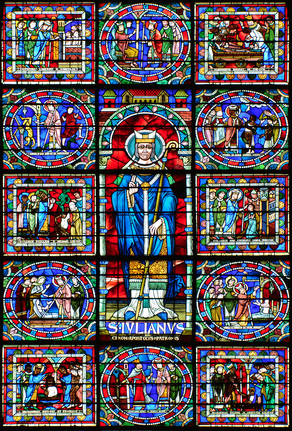 Medieval Stained Glass In Le Mans Cathedral Behind The Glass