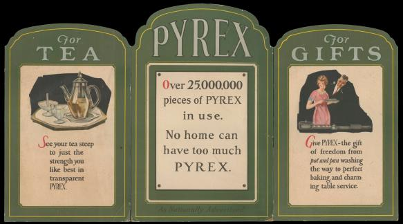 "Dianne's favorite piece of ephemera from her collection is this 3-panel cardboard display: ""Pyrex, for tea, for gifts,"" circa 1925. CMGL 123580."