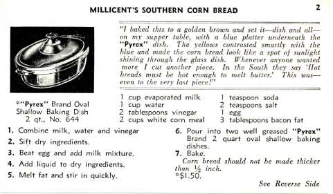 """""""Millicent's Southern Corn Bread."""" Recipe Cards, Corning Glass Works, 1936. From the Dianne Williams collection on Pyrex, Box 3, Folder 1. CMGL 119626."""