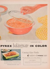 """""""Pyrex bakingware in color."""" Advertisement from Corning Glass Works, published in unknown periodical, sometime in 1952. CMGL 141103."""
