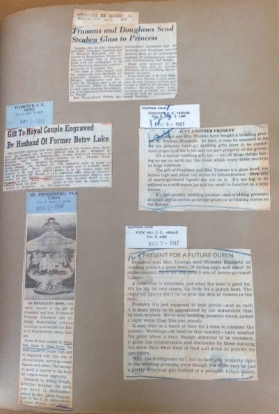 Pages from the scrapbook in the Rakow Research Library documenting Princess Elizabeth's wedding gifts.