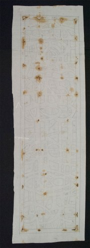 """An """"After Treatment"""" photograph of the 1:1 tracing paper design for The Ascension of Christ (196cm x 57cm)"""