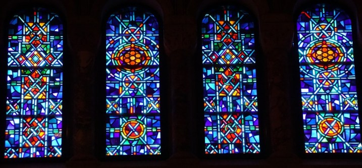 Variations of color and design for the clerestory stained glass windows at Temple Emanu-El, New York City.
