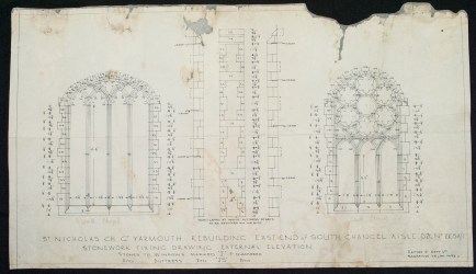 Architectural drawing on paper for windows in St. Nicholas' Church, Norfolk, England, BIB#163443.
