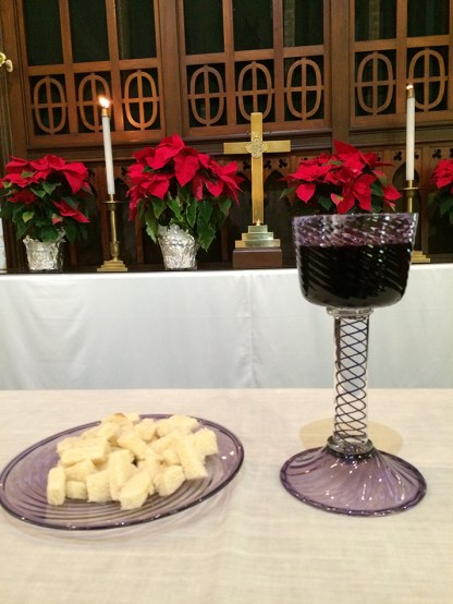 The chalice and paten being used at one of Sheila's services.