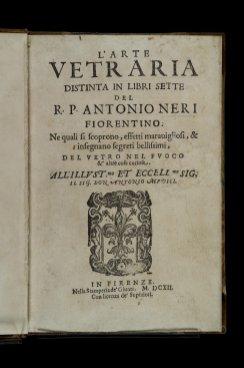 The title page of L'Arte Vetraria.