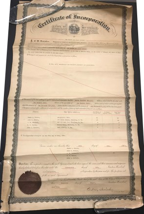 Original Certificate of Incorporation issued by the Secretary of State of West Virginia for The Fenton Art Glass Co. of Martins Ferry, Ohio, dated July 17, 1905.