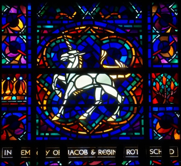 Detail of unicorn in stained glass window