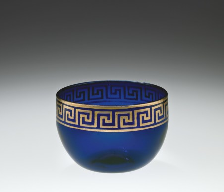 Deep blue gilded bowl, about 1790-1799, Isaac Jacobs, Bristol, England, 58.2.1.