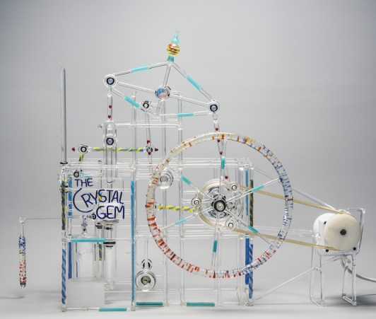 One of Dunham's kinetic sculptures, The Crystal Gem, will be on view in Curious and Curiouser: Surprising Finds from the Rakow Library.