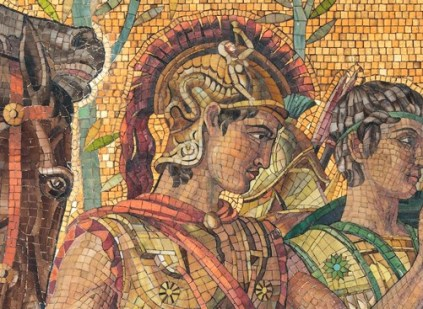 Executed detail of mosaic, including the head of Patroclos.