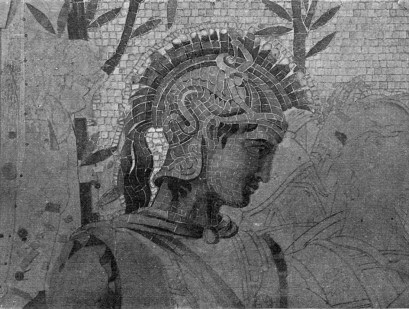 Detail of mosaic in progress, including the head of Patroclos.