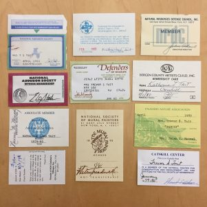 Tait's membership cards for the Defenders of Wildlife, the National Society of Mural Painters, and the Stained Glass Association of America.